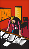 Teacher Depressed Table Classroom Woodcut Stock Photography