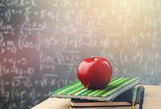 Teacher desk. Classroom table teaching academic apple stock photo
