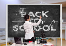 Teacher drawing back to school Royalty Free Stock Photos