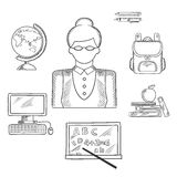 Teacher and education sketched icons Royalty Free Stock Photo