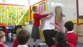 Teacher With Elementary School Pupils In Maths Lesson stock footage