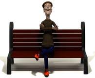 Teacher enjoys today weather on brown bench Royalty Free Stock Photos