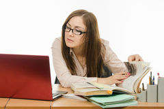 The teacher enthusiastically prepared for the lesson Royalty Free Stock Image