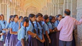 Teacher Explains History to Schoolgirls on Palace Terrace stock video footage