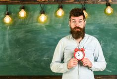 Teacher in eyeglasses holds alarm clock. Schedule and regime concept. Man with beard and mustache on surprised face in. Classroom. Bearded hipster holds clock Stock Photos