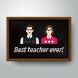 Teacher& felice x27; illustrazione di vettore di giorno di s nel telaio di legno Fotografia Stock