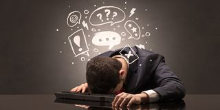 Teacher fell asleep at his workplace with full draw blackboard concept. Elegant teacher fell asleep at his workplace with full draw blackboard conceptn stock photo