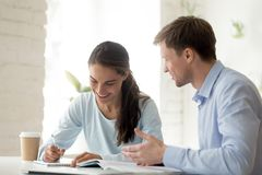 Teacher and female student  having fun learning royalty free stock image