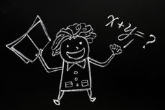 Teacher figure drawn with chalk on blackboard Stock Images
