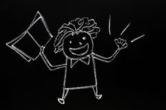 Teacher figure drawn with chalk on blackboard Royalty Free Stock Images