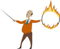 Teacher with a flaming hoop and a pointer Stock Photos