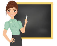 Teacher in front of blackboard Royalty Free Stock Images