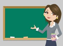 Teacher in front of chalkboard Stock Image