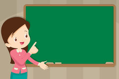 Teacher in front of chalkboard with copy space for your text. Young Teacher in front of chalkboard with copy space for your text vector illustration