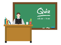 Teacher in front of chalkboard with text. Stock Image