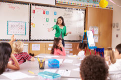 Teacher at the front of class with elementary school kids Royalty Free Stock Photography
