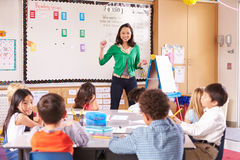 Teacher at the front of class with elementary school kids royalty free stock photo