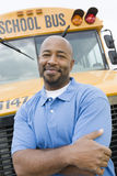 Teacher In Front Of School Bus Stock Photos