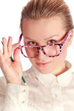 Teacher in funny eyeglasses Stock Images
