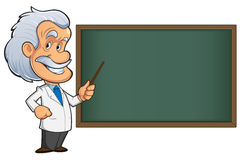 Teacher. Funny scientist or teacher, with white hair and mustache, and blackboard Stock Photo