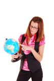 The teacher of geography with the globe. Royalty Free Stock Image
