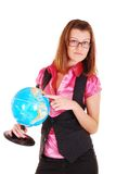 The teacher of geography with the globe. Stock Photography