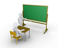Teacher gives instructions to student. 3d person sitting on chair and another is teaching Stock Photography