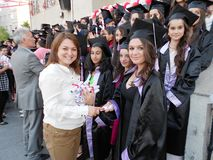 The teacher gives the student graduation certificate in Turkey. Royalty Free Stock Photo