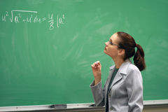 Teacher and the greenboard royalty free stock photos