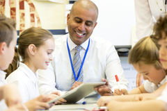 Teacher Happy at Scool Stock Image