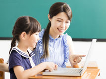 Teacher helping child with computer lesson Royalty Free Stock Images