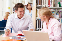 Teacher Helping Mature Student With Studies In Library Royalty Free Stock Image