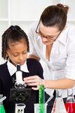 Teacher helping schoolgirl Royalty Free Stock Photography