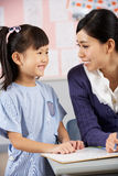 Teacher Helping Student Working At Desk Royalty Free Stock Photo