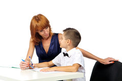 Teacher helps the student Stock Photos