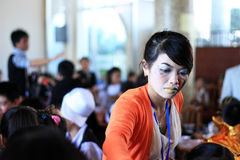 Teacher with her pupil at Halloween party .DA LAT, VIET NAM- OCTOBER 30 Stock Photos