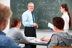 Teacher with high school students royalty free stock photography