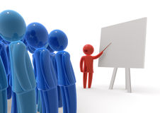 Teacher and his audience. Teacher standing with pointer in hand close to board in front of students. Board is empty - ready for montage of desired content Royalty Free Stock Photos
