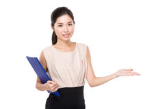 Teacher hold with clipboard and open hand palm Royalty Free Stock Photos