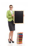 Teacher holding blackboard. Stock Photos