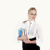Teacher holding books Royalty Free Stock Photography