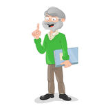 Teacher holding a class catalog. Vector illustration of a gray elderly teacher holding a class catalog Royalty Free Stock Images