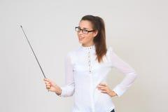 Teacher holding pointer isolated on white Stock Photo