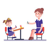 Teacher or home tutor studying with her girl pupil. Sitting on school desk. Modern flat vector illustration clipart Stock Photos