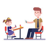 Teacher or home tutor studying with his girl pupil. Sitting at school desk. Modern flat vector illustration. Cartoon character clipart Royalty Free Stock Photos