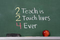 Teacher inspirational phrase on chalkboard Royalty Free Stock Photos