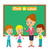 Teacher and kids. Back to school.teacher and kids,illustration,vector Royalty Free Stock Photo