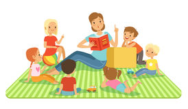 Teacher and kids in big classroom at lesson. Childrens sitting at their dasks. Vector illustrations in cartoon style