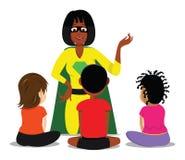 Teacher kids classroom. Cartoon illustration of a teacher kids classroom Royalty Free Stock Image