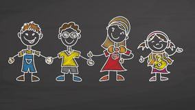Teacher and Kids drawing on chalkboard. Handdrawn vector sketch, clean outlines, vintage style blackboard Royalty Free Stock Photo